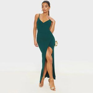 Emerald Green Wrap Front Crepe Dress Cocktail